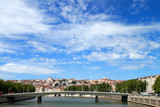 Lyon. Sight at a city through Saone