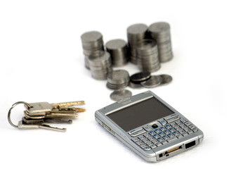 Mobile phone with coins and keys