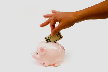 Girl add money to pig