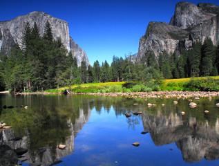 Summertime view of El Capitan in Yosemite National Park