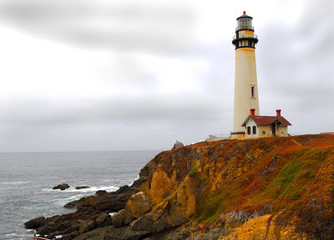 Lighthouse along the California coast on a gray stormy day