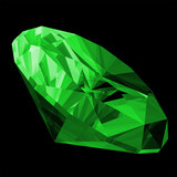 A 3d illustration of a emerald gem isolated poster