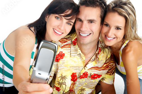 Young happy people with a cellphone