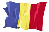 Computer generated illustration of the flag of Romania poster