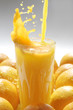 roleta: Image of glass of orange juice with fruits near by
