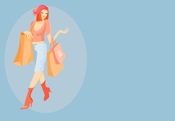 vector image of woman with handbag