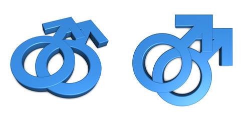 Two Blue Male Symbols on White