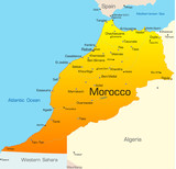 Abstract vector color map of Morocco country poster