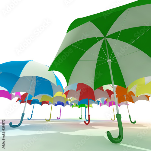 Colorful umbrellas on  white background