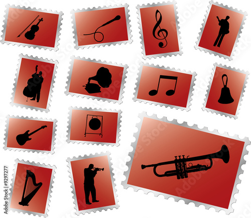 Set postage stamps. Music