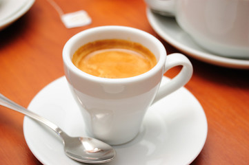 close-up of cup of cofee (espresso), shallow DOF