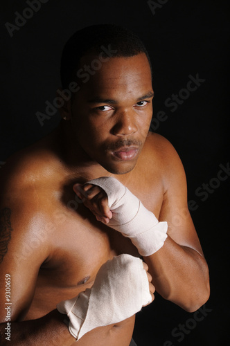 African american boxer warming up