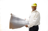 African American Contractor checking house plans poster