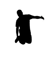 young African American man leaping in air