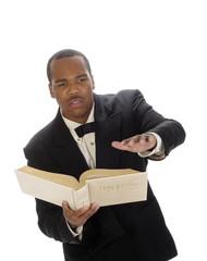 African preacher giving sermon