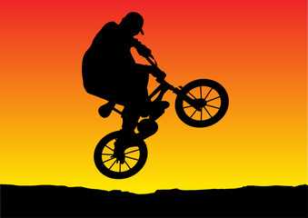illustration of a sunset bicycle jumping