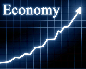 Arrow graph going up with economy written on it