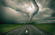 large tornado over the road (3D rendring) - 9304679
