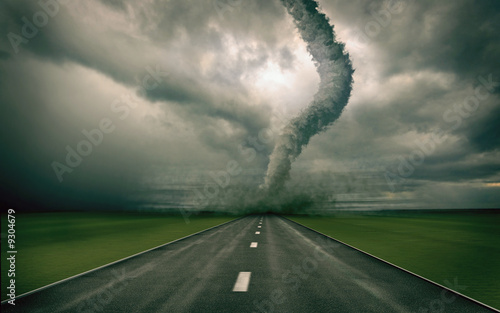 Foto op Canvas Onweer large tornado over the road (3D rendring)