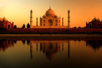 taj mahal in india during a beautiful sunset