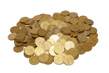 Bunch of gold coins isolated on white.