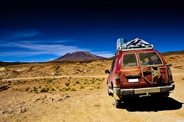 Bolivia , dramatic landscape, jeep desert and mountain