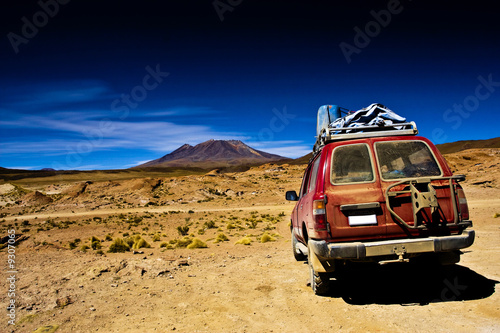 Bolivia , dramatic landscape, jeep desert and mountain