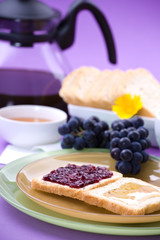 Sweet breakfast - toasts with jam and honey