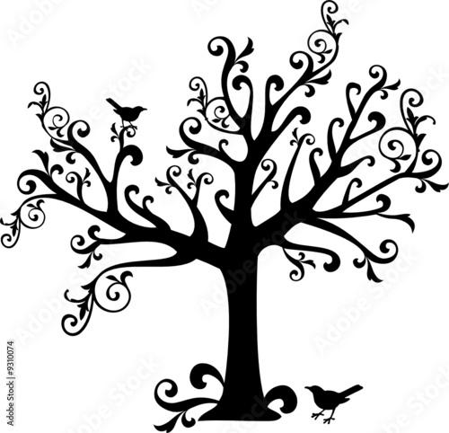 ornamental tree with swirls and birds