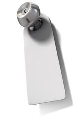 Door knob with hanging blank label