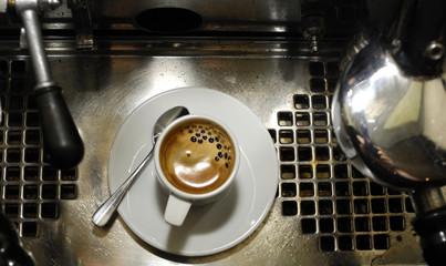 espresso coffe and old retro espress italian machine