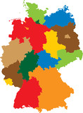 Germany divided into 16 states poster