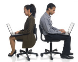 businesspeople using laptops poster