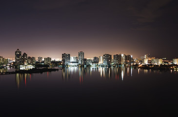 Night view on Aventura from Sunny Isles Beach over Intercoastal