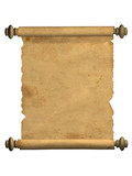 Scroll of old parchment. Object over white poster