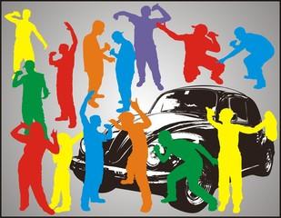 Rap boys and car
