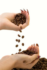 Female hands and coffee beans