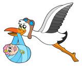 Flying stork delivering baby poster
