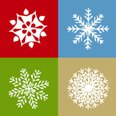Set of four abstract vector snowflakes