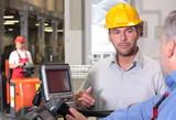 supervisor  talking to forklift operator in warehouse poster