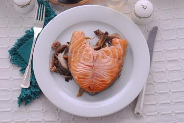 Salmone ai funghi - Secondi di pesce