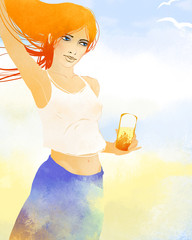 Red-haired woman holding a glass of juce