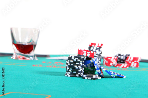 Poker Table With Liquor And Chips