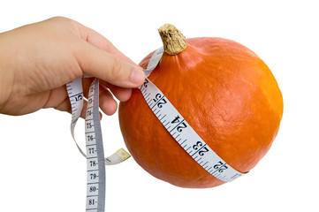 pumpkins  with measuring tape