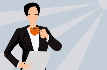 vector image of businesswoman with paper and cup of tea
