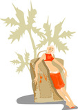 vector image of pretty resting woman with big baggage
