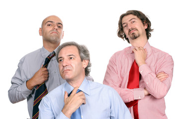Unhappy business team, isolated in white background