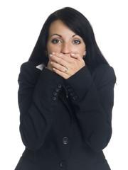 businesswoman in the Speak No Evil pose.