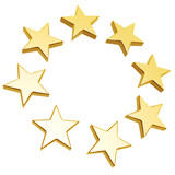 golden stars circle array isolated on white background poster