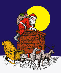 Santa climbing down the chimney